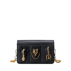 Rivets Chain Faux Leather Crossbody Bag - BLACK