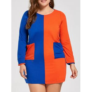 Color Block Pockets Plus Size Tunic T-shirt Dress