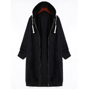 Kangaroo Pocket Drawstring Long Zipper Up Hoodie - Black - M
