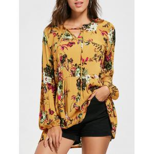 Eyelet Floral Print Tunic Blouse