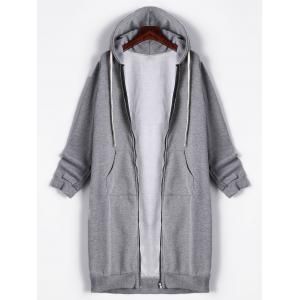 Kangaroo Pocket Drawstring Long Zipper Up Hoodie