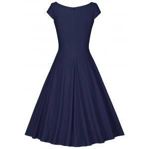 Retro V Neck Fit and Flare Dress -