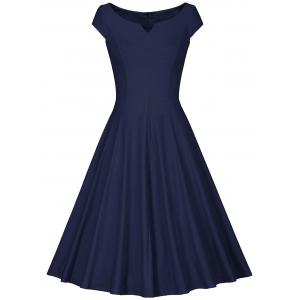 Retro V Neck Fit and Flare Dress - Deep Blue - S