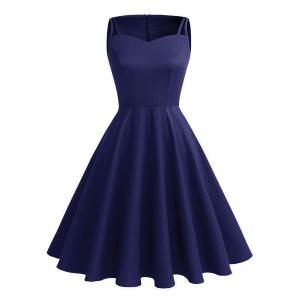 Vintage Cut Out Pin Up Dress - Deep Blue - S