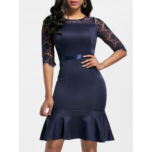 Lace Insert Fishtail Mini Dress
