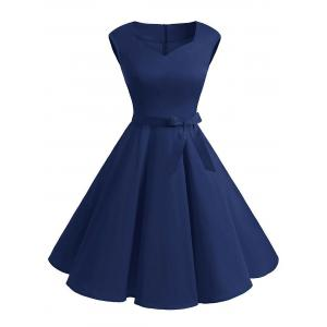 V Neck Mini Skate Party Dress - Deep Blue - S
