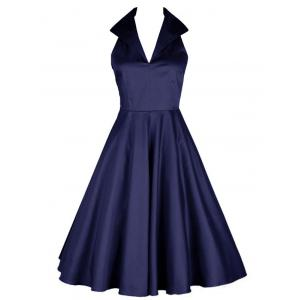 Vintage Turn Down Collar Skater Pin Up Dress - Deep Blue - S