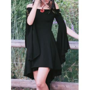 Off The Shoulder Flare Sleeve Swallowtail Dress