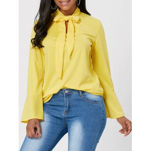 Flare Sleeve Bow Neck Top - Yellow - 2xl
