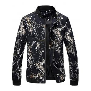 Zip Up Splatter Print Bomber Jacket