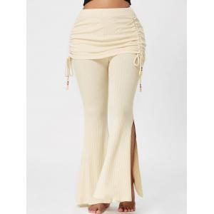 Knitted High Waist Bell Bottom Pants - Palomino - 2xl