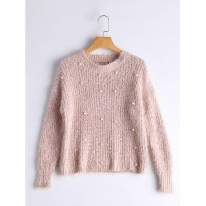 Faux Pearl Embellished Fuzzy Sweater