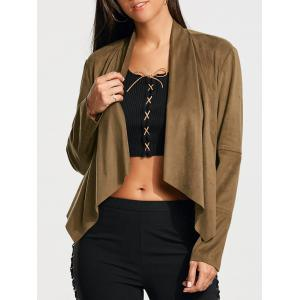Plain Faux Suede Waterfall Jacket with Pocket