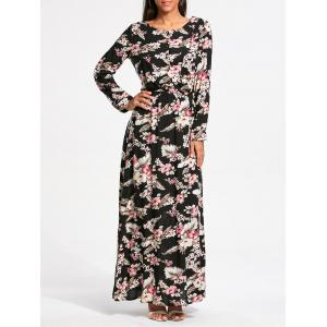 Tiny Floral Print Long Sleeve Maxi Dress