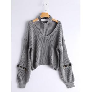 V Neck Embellished Zipper Knit Sweater - Gray - S