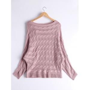 Cable Knit Floral Dolman Sleeve Sweater - PINKISH PURPLE ONE SIZE