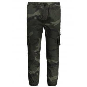 Drawstring Camouflage Mens Jogger Pants - Army Green - Xl