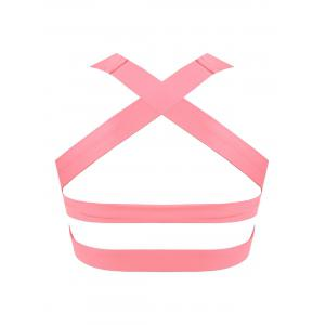 Padded Bandage Criss Cross Sports Bra - LIGHT PINK M