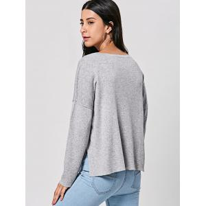 Pullover Drop Shoulder Slit High Low Top - GRAY XL