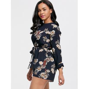 Flower Printed Open Back Romper - COLORMIX S