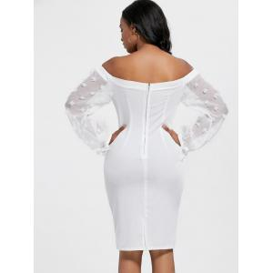 Sheer Sleeve Off The Shoulder Bodycon Dress - WHITE M