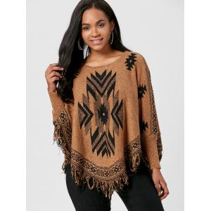 Batwing Graphic Sweater with Fringes -