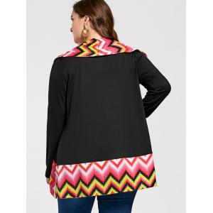 Long Sleeve Colorful Zig Zag Plus Size Cardigan - COLORMIX 3XL