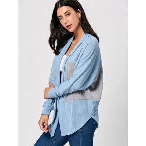 Two Tone Open Front Long Sleeve Cardigan - COLORMIX M