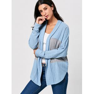 Two Tone Open Front Long Sleeve Cardigan - COLORMIX 2XL