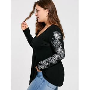 Floral Pattern Long Sleeve Plus Size Draped T-shirt -