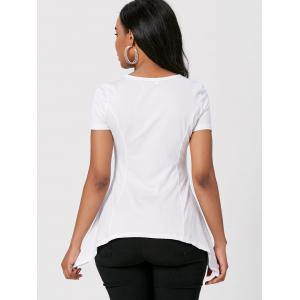 Stylish Round Neck Short Sleeve High Low T-Shirt For Women -