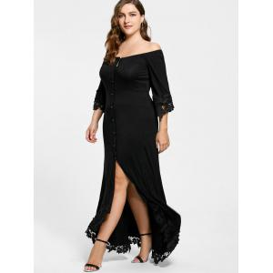 Lace Insert Off The Shoulder Plus Size Holiday Dress -