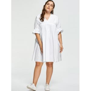 White 4xl Flare Sleeve Plus Size Babydoll Dress | RoseGal.com