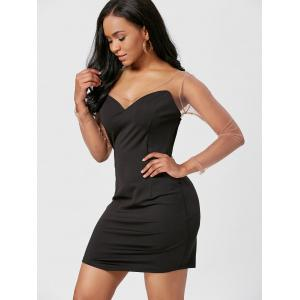 Long Sleeve Mesh Insert Bodycon Mini Dress -