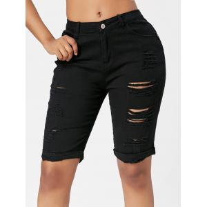 Ripped Bermuda Cuffed Shorts -
