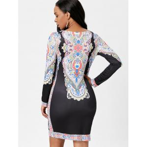Tribal Print Fitted Dress with Sleeves -