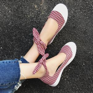 Gingham Bowknot Ankle Cuff Flat Shoes -
