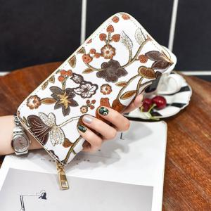Embroidery Zip Round Clutch Wallet -