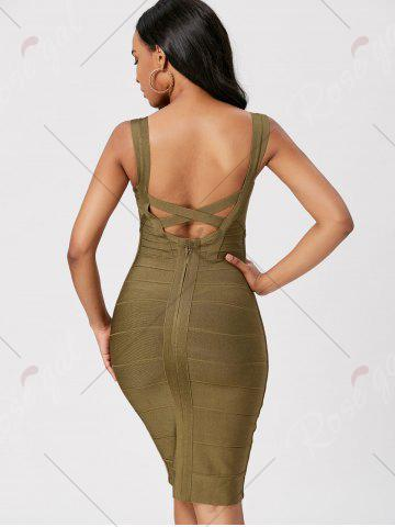 Chic Criss Cross Back Bodycon Bandage Dress - L GREEN Mobile