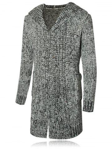 Open Front Heathered Hooded Cardigan - Gray - M