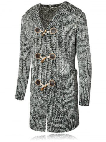 Claw Button Hooded Heathered Cardigan - GRAY - M