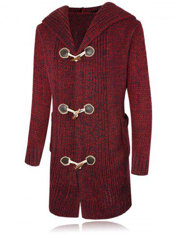 Claw Button Hooded Heathered Cardigan - Deep Red - M