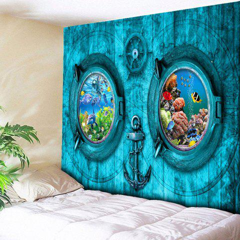 Submarine Anchor Rudder Wall Tapestry - Turquoise Blue - W79 Inch * L59 Inch