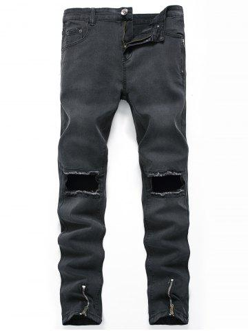 Zippers Design Hollow Straight Leg Ripped Jeans - Black - 40