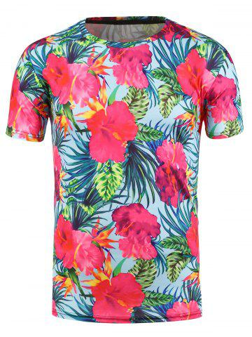 Latest 3D Flowers Print Hawaiian T-shirt LIGHT BLUE 3XL