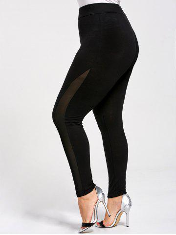 Mesh Panel Plus Size Skinny Leggings - Black - 5xl