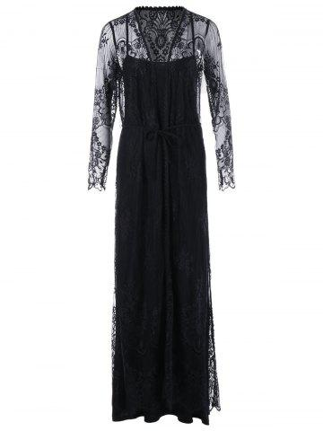 Lace Up Sheer Long Sleeve Maxi Dress - Black - 2xl