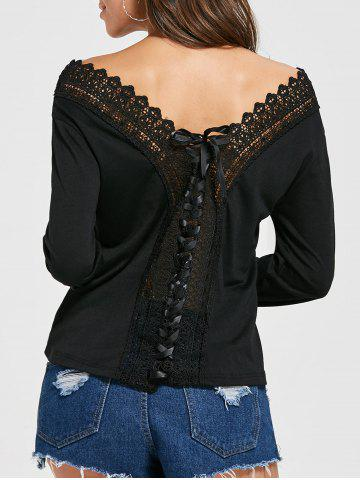 Latest V Neck Lace Up Floral Crochet T-shirt BLACK S