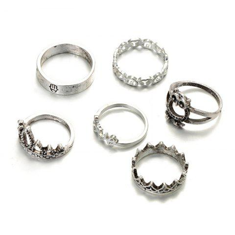 Best 6 Pieces Cartoon Owl Heart Crown Rings - SILVER  Mobile