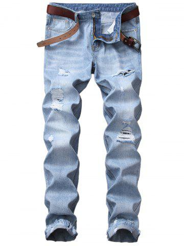 Chic Blends Wash Straight Leg Distressed Jeans - 42 LIGHT BLUE Mobile